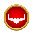 Strong heart icon in simple style vector image