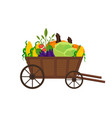 vegetables in a wooden cart background vector image vector image