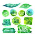 veggi food green label vector image vector image