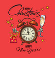 vintage happy new year merry christmas greeting vector image vector image