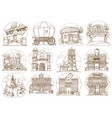 wild west set buildings and household items vector image vector image