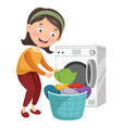 woman washing clothes vector image