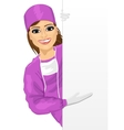 young female nurse presenting empty banner vector image vector image