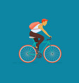 young man with a backpack riding on the bicycle vector image vector image