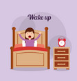 girl in his bed with clock bedside table wake up vector image
