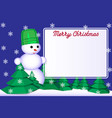 4 merry christmas greeting card with snowman vector image vector image