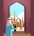 arab people coming to nabawi mosque building vector image vector image