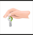 arm holds bunch of keys by key ring vector image vector image