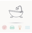 Bathroom icon Bath with shower sign vector image vector image