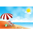 Beach landscape sea sun sky and cloud summer vector image vector image