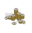 cash money coin cent stacks isolated on white vector image vector image