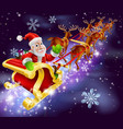 christmas santa claus flying sleigh with gifts vector image vector image