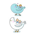 cute cartoon birds and kids children s fairy vector image vector image