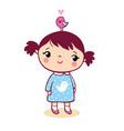 cute girl with bird vector image