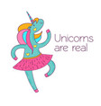 dancing cartoon unicorn in a skirt postcard vector image
