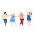 dancing plus size happy women vector image vector image