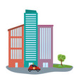 delivery car in cityscape vector image vector image