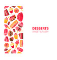 desserts sweet and tasty banner template bakery vector image