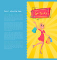 don t miss the sale best prices poster with woman vector image