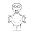 dotted line cute robot toy icon vector image vector image