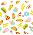 fast food seamless pattern on white background vector image vector image