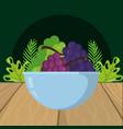 fresh fruits grapes cartoon vector image