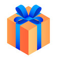 gift orange box icon isometric style vector image vector image