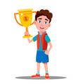 happy child with sport cup in hand vector image vector image