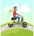hipster man riding yellow scooter on summer sunny vector image