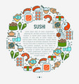 japanese food concept in circle vector image vector image