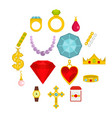 jewelry items icons set in flat style vector image vector image
