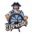 jolly pirate at helm ship vector image