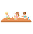 kids eating brekfast and lunch food and drinking vector image vector image