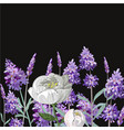 lavender peony realistic template on black vector image vector image