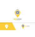 lock and map pointer logo combination safe vector image vector image