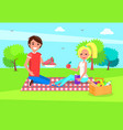 man and woman resting on picnic couple sitting vector image