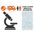 microscope icon with 1300 medical business icons vector image