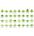 park nature elements icons set isometric style vector image
