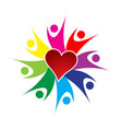 people teamwork and loving heart logo vector image vector image