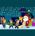 santa claus carrying present and holding a name vector image vector image