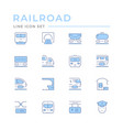 set color line icons railroad vector image vector image