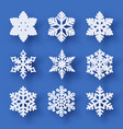 set of 9 paper cut snowflakes with shadow vector image vector image