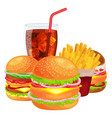 set of tasty burgers grilled beef and fresh vector image vector image