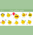 set of ten cute kawaii yellow apples characters in vector image vector image