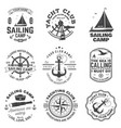 set sailing camp and yacht club badge vector image vector image