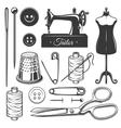 set vintage monochrome tailor tools vector image vector image