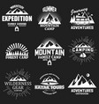 set vintage outdoor adventure labels vector image vector image