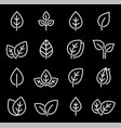 set white isolated line leaf icons vector image