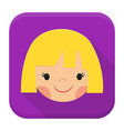 Smiling girl face app icon with long shadow vector image vector image