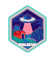 ufo space patch sticker print vector image vector image